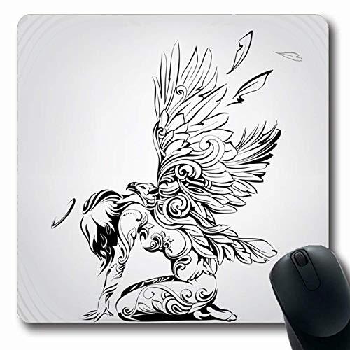 Tappetini per il mouse piume tatuaggio angelo ali d'aquila arricciatura linea sexy disegno grafico schizzo tribale forma oblunga antiscivolo tappetino per il gioco tappetino in gomma oblunga,tappetino