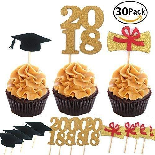 (Graduate Cupcake Topper 30Stück/Set, Graduation Party Supplies Dr. Hat Mini Geburtstag Kuchen Snack Dekorationen Picks Herstellern Party Zubehör für Die Graduierung)