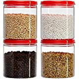 Amazon Brand - Solimo Marvel Jar with Snapfit Cap, 475 ml, Set of 4, Red