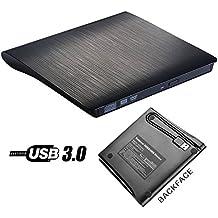 USB 3.0externo portátil unidad de DVD, roofull Slim grabador externo de CD y DVD RW Rom grabadora de DVD/disco para Apple MacBook, MacBook Pro, Linux Windows 7/XP/8/10para portátil ordenadores de sobremesa negro
