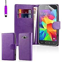 32nd® Funda Flip Carcasa de Piel Tipo Billetera para Samsung Galaxy Core Prime (SM-G360) con Tapa y Cierre Magnético y Tarjetero - Morado