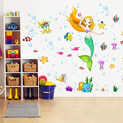 RALCAN Meerjungfrau Prinzessin Wandtattoo Aufkleber Home Decor DIY Abnehmbare Art Vinyl Wandbild Für Kinderzimmer/Bad/Mädchen/Kindergarten