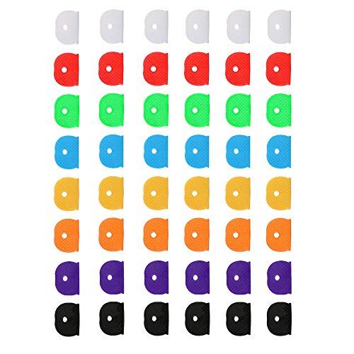 48zählt Silikon Kappen, sortiert Farbe Haus Schlüsselbezeichnung Tags, starkem Widerstandskraft in 8verschiedenen Farben (Ringe Kleinen Bauch)