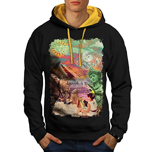 wonders-of-world-artist-maker-men-new-black-gold-hood-m-contrast-hoodie-wellcoda