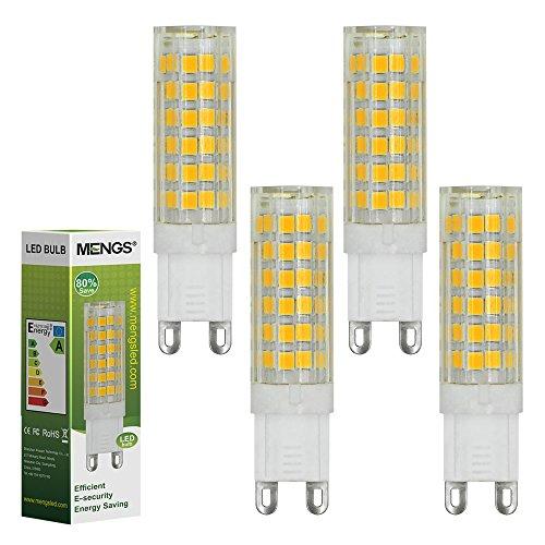 4pz MENGS® Lampada LED 7W G9 LED 75x 2835 SMD LEDs Lampadina LED (Bianca Calda 3000K, 360 angolo, 510lm, AC 220-240V, 16 x 61mm) Lampadine a risparmio energetico