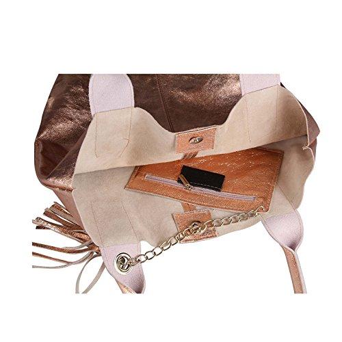 OBC Damen Metallic Tasche Shopper Hobo Bag Schultertasche Umhängetasche Handtasche Henkeltasche Beuteltasche (Taupe 41x37x12) Rosa-Leder 42x35x16
