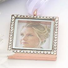 Ramo de cristal marco de fotos Memory Locket Charm–Brides Keepsake–oro rosa