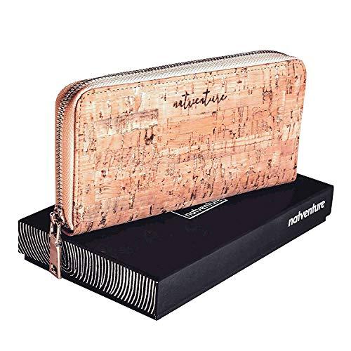 natventure® Damen Geldbörse aus Korkleder mit RFID Schutz, Frauen Portemonnaie, Geldbeutel ohne Leder, Ökologisch & Vegan, Schwarz inkl. Geschenkverpackung Geschenk (naturgold)