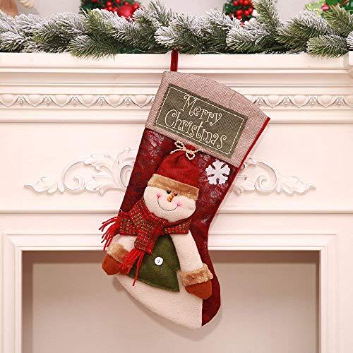 Calza natalizia, calzini classici per decorazioni natalizie, giocattoli appesi per l'albero di natale farcito, portamonete per bambini 50 * 25 * 22cm,snowman