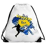 Eurofoto Turnbeutel mit Namen Ben und Fußball-Motiv für Jungen | Sport-Beutel für Kinder | Gymbag