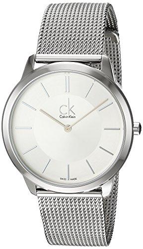 Calvin Klein Herren-Armbanduhr XL minimal Analog Quarz Edelstahl K3M21126