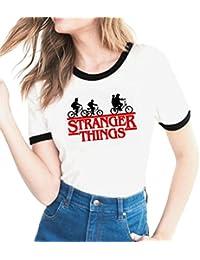 Yuanu Mujer Cómodo Transpirable Manga Corta Cuello Redondo Slim Camiseta Amantes Tamaño Grande Casual T-Shirt con Temática Impresión Sobre Stranger Things