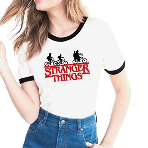 Yuanu Amantes Spring Verano Tamaño Grande Manga Corta Cuello Redondo Camiseta, Suave Cómodo Slim T-Shirt con Cartas/Patrones Temática Impresión Sobre Stranger Things Impresión Estilo 11 S
