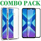 AONIR 5D Tempered Glass & Bumper Transparent Back Cover_Combo Pack_ Premium Quality Screen Guard And Soft Case Cover For Huawei Honor 8X