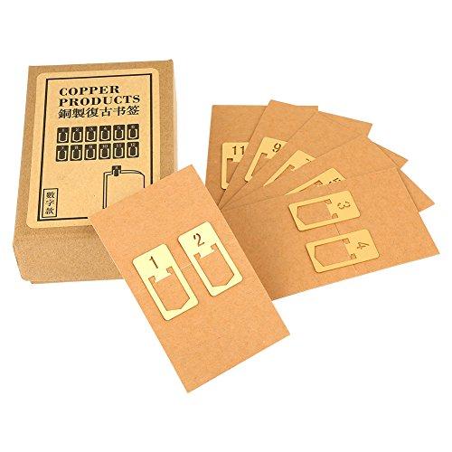 GLOGLOW Lesezeichen Clips, 12pcs Lesezeichen Clips Nette Zahlen Plated Metal Index Clamp Label Clip Schreibwaren Büroklammern Lesezeichen Schreibwaren