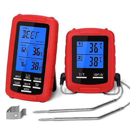 Yissvic Grillthermometer BBQ Thermometer Digital Grillthermometer Funk mit 2 Temperaturfühlern für BBQ Ofen und Grills Verpackung MEHRWEG