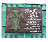 YISUMEI 25x30 cm Gaming Mauspad Office Computer Mouse Pad Mond rust in the Lord Bible Verse Scripture Hand Painted Wood Cross Sign String Art Cross Proverbs 3:5