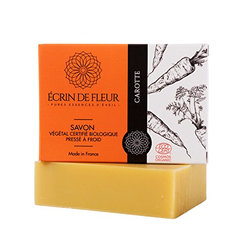 ÉCRIN DE FLEUR - Jabón de Zanahoria Certificado Orgánico Por Ecocert. Jabón de Manteca de Karité Rico en Antioxidantes y con una Suave Esencia de Limón. Jabón Sin Sulfatos ni Ingredientes Tóxicos