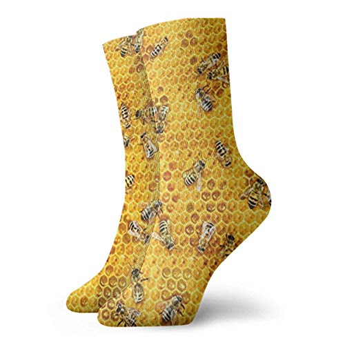 Honey Bees On A Honey Combs Men Women Novelty Funny Crazy Crew Sock Printed Sport Athletic Socks 30cm Long Personalized Gift Socks