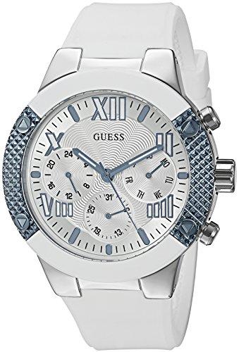 GUESS Classic Damen-Armbanduhr 44mm Armband Silikon Weiß Quarz Analog U0772L3
