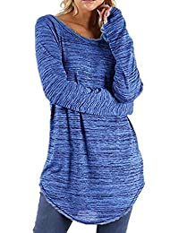 Mujer Blusa Camiseta Tops Manga Larga Traje de Otoño,Sonnena Blusa de Manga Larga Redonda de Color sólido para Mujer Pullover…