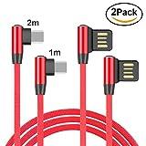 Lively Life Cavo di Ricarica Veloce USB 2 Pacchi 2.4A USB da Tipo C a USB Cavo ad Angolo Retto Cavo USB Tipo C da 90 Gradi Cavo Dati per Samsung S9, Google Pixel 2/2 XL 3.3ft/1m+6.6ft/2m Rosso