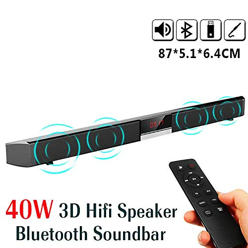 Sound Bar HiFi Bluetooth TV Lautsprecher Smart Sound 3D Remote Stereo Built-in Multifunktion Subwoofer Wall-Mounted Home Theater für PC, Mobile, TV, Support RCA/AUX