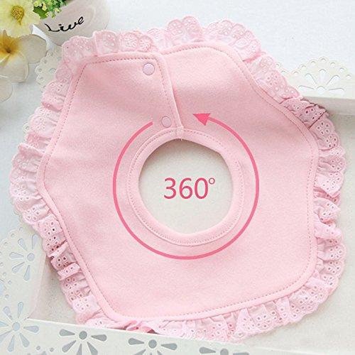 Amaoma 360-Grad-Drehung lace Lätzchen Doppel-dicke Baumwollbabylätzchen Baby liefert Spitze Bogenriemen Baumwolle Lätzchen Lätzchen (Rosa) -