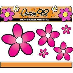 Rosa margaritas flores pegatinas–por Aurum92