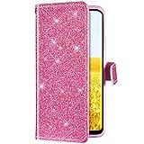 Uposao Kompatibel mit Huawei Honor 7A Handyhülle Leder Tasche Luxus Glitzer Diamant Bling Glänzend Muster Wallet Bookstyle Schutzhülle Hülle Flip Case Brieftasche Klapphülle Ständer,Pink