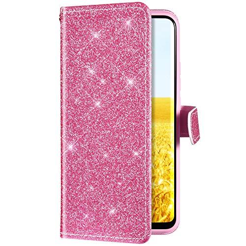 Uposao Kompatibel mit Huawei P30 Lite Handyhülle Leder Tasche Luxus Glitzer Diamant Bling Glänzend Muster Wallet Bookstyle Schutzhülle Hülle Flip Case Brieftasche Klapphülle Ständer,Pink