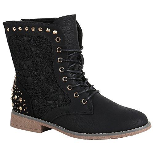 Stiefelparadies Damen Stiefeletten Schnürstiefeletten Gefütterte Boots Spitzenstoff Schuhe Nieten Schnürboots 149620 Schwarz Nieten 38 Flandell