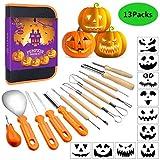 Coltello da intaglio di zucca di Halloween, Professionale Kit di Intaglio della Zucca Legno carving strumenti 13 Pezzi in Acciaio Inossidabile con Custodia per Il Trasporto per Adulti e Bambini