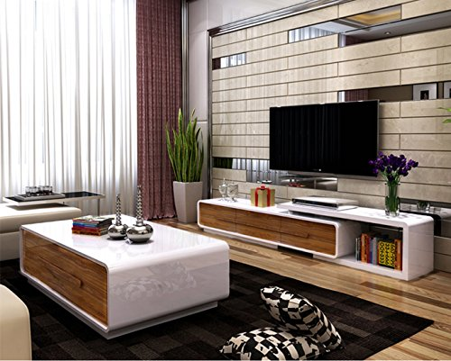 OSPI White U0026 Walnut High Gloss Extendable Living Room Furniture Setsu2013TV ... Part 51
