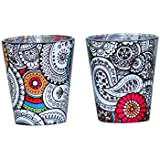 The Bombay Store - Doodle Art - Shot Glass (Set Of 2-30 Ml) - Glass - Bar Accessory And Home Décor - Digital Print