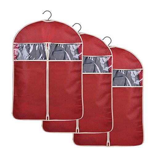 Sunmoch 3x Hochwertigeres Kleidersack 108 x 60 cm - Anzugsack / Kleiderhülle / Lang Kleidersäcken - Schutz für Lhre Anzüge und Kleider vor Staub, Motten(Rotwein)