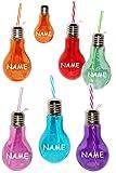 5 Stück _ Trinkgläser / Gläser -  Glühbirne - Lampe - Bunte Farben  - incl. Name - mit Strohhalm & Deckel - je 0,45 Liter - Bunte Farben - Trinkbecher als G..
