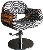 FIGARO hydraulisch höhenverstellbarer Friseurstuhl CIVITAVECCIA mit rundem Chromsockel Farbe Zebra