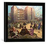 Gerahmtes Bild von Hans Baluschek Sommerabend, Kunstdruck im hochwertigen handgefertigten Bilder-Rahmen, 40x30 cm, Schwarz matt