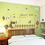 HCCY Habitación niños cartoon pegatinas idílico jardín cama dormitorio salón un cálido y pinturas murales de 155*85cm pegatina