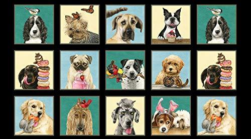Elizabeth's Studio Dog ELI14 Stoffpaneel, Motiv Doggie Drama, 60 x 110 cm, 100% Baumwolle -
