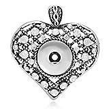 Souarts Altesilberfarbe Herz Click Button Träger Anhänger mit Strass fit 5.5mm Druckknopf 1St.