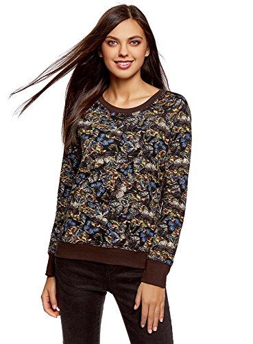 oodji Ultra Damen Bedrucktes Sweatshirt Basic, Braun, DE 38 / EU 40 / M -