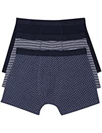 M&Co Mens Stretch Cotton Rich Elasticated Waistband Navy Blue Spot Stripe and Plain Trunks Three Pack