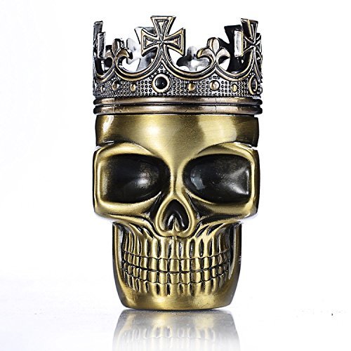 420QUEENZ Death King Skull Tobacco Herb Spice Grinder Crusher 3 Part Hand Muller Pollen Catcher