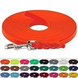 LENNIE BioThane Schleppleine 13 mm breit, 25 Farben/Neon Orange, 1-30 Meter / 7 m, Geflochten
