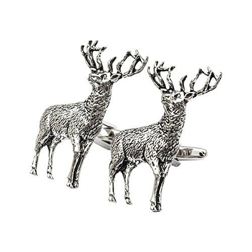 Onyx - Art London Herren-Manschettenknöpfe Schottischer Highland Hirsch (Schottische Manschettenknöpfe)