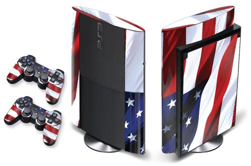 247Skins - Sticker de Protection pour Console PS3 ULTRA SLIM Playstation 3 Sony + 2 Stickers pour Manette PS3 Sony - Stars N Stripes