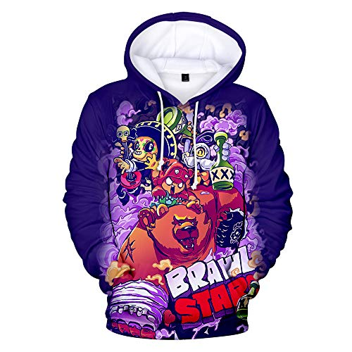 Ywfzzxs 3D Hoodies Anime HD Gedruckt Sweatshirts Langarm Große Taschen Pullover Unisex Top Baseballuniform Brawl Stars L -