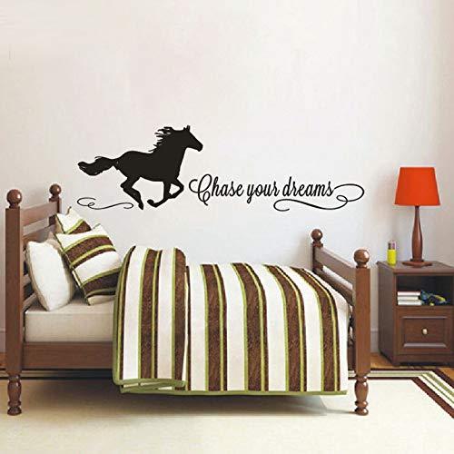 Jagen Sie Ihre Träume Zitate Wandtattoos mit Pferd Aufkleber, Pferd Wandtattoos, Mädchen Zimmer Aufkleber, Cowgirl Wandtattoo Vinyl Aufkleber, 30x100cm - Pferd Zitate Wandtattoos